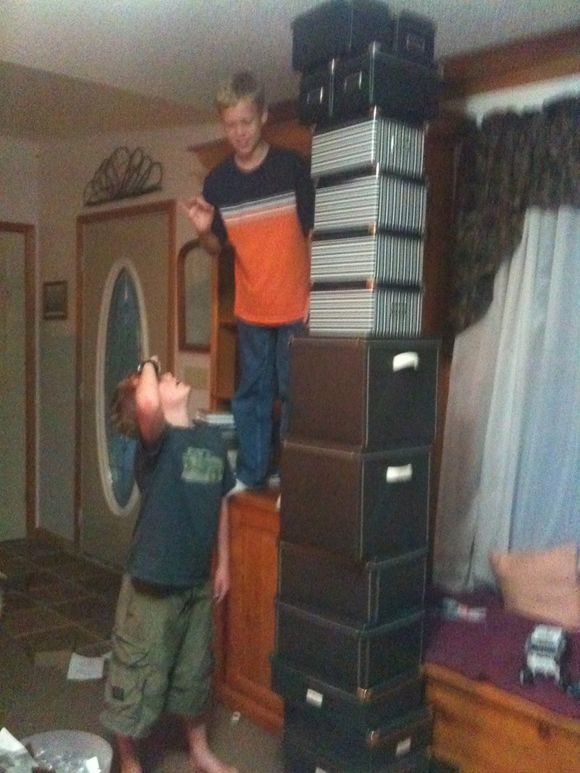 When boys help mom assemble her IKEA boxes...